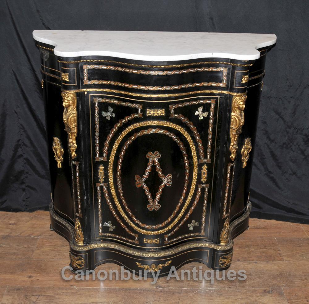 Français Antique laque noire Cabinet Bahut Marqueterie Inlay Chest