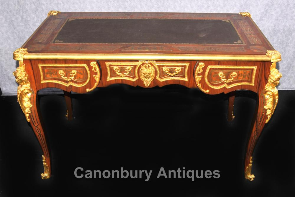 Français Boulle Writing Desk Table Bureau Plat Ormolu Kingwood