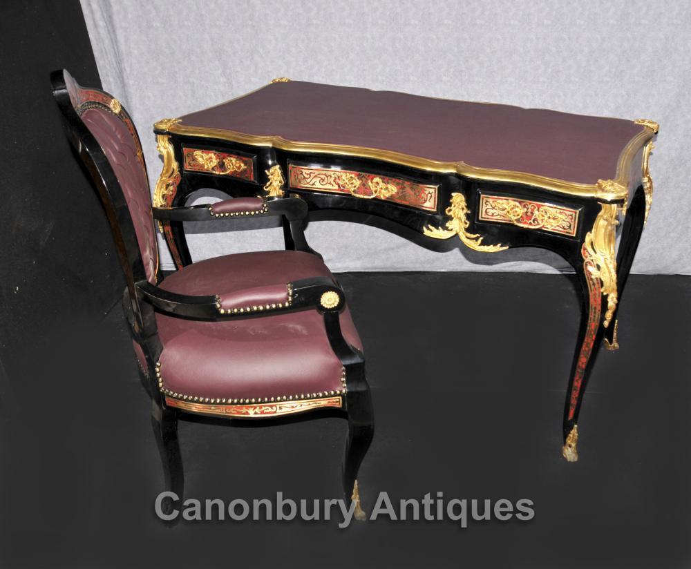 Français Boulle bureau et chaises Table écriture Bureau Inlay Meubles