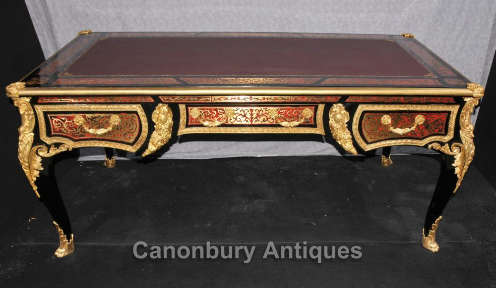 Grand Boulle Louis XVI bureau Bureau Table Plat Marqueterie Inlay