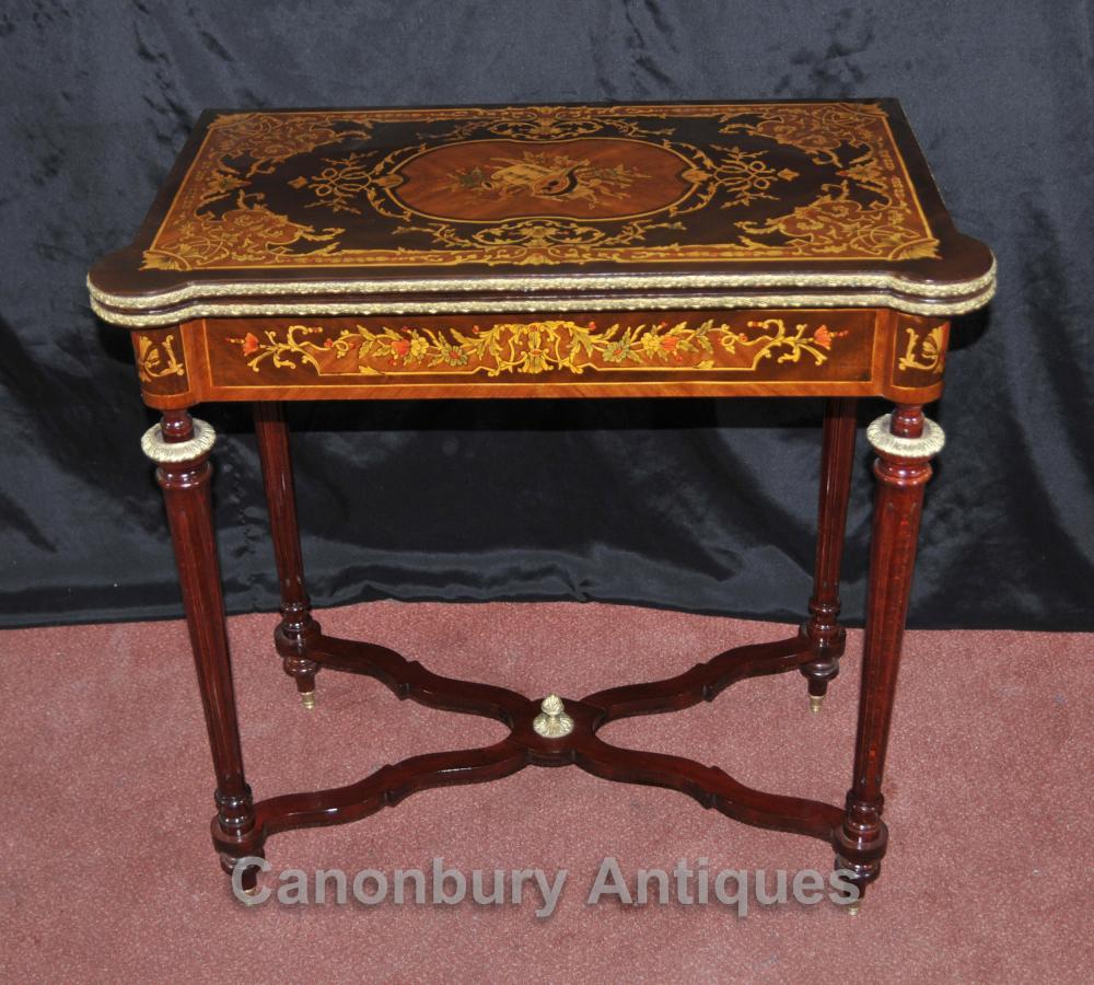 Louis XVI française d'échecs Table Marqueterie Inlay Console