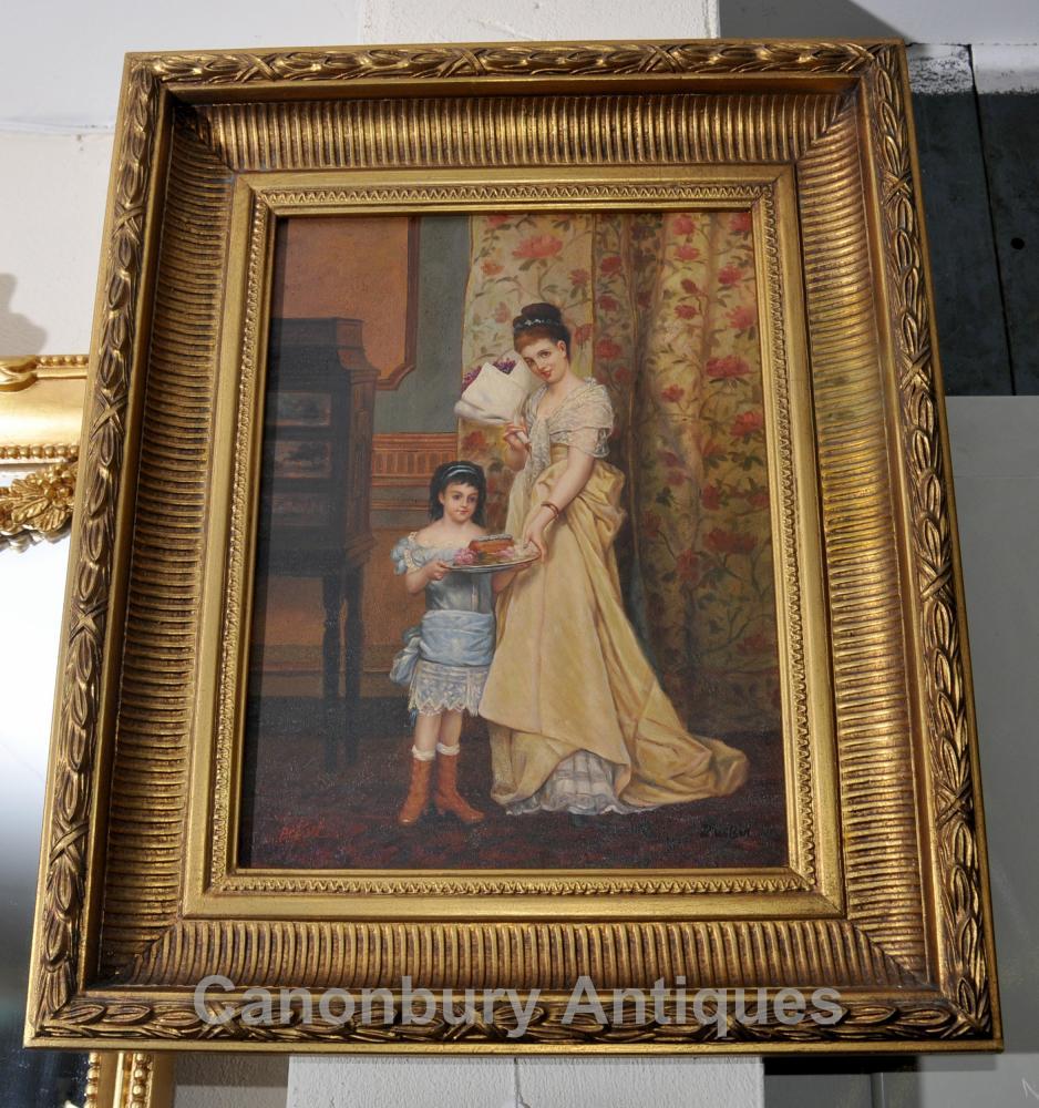 Mère victorienne et peinture à l'huile enfant cadre doré English Art Signé