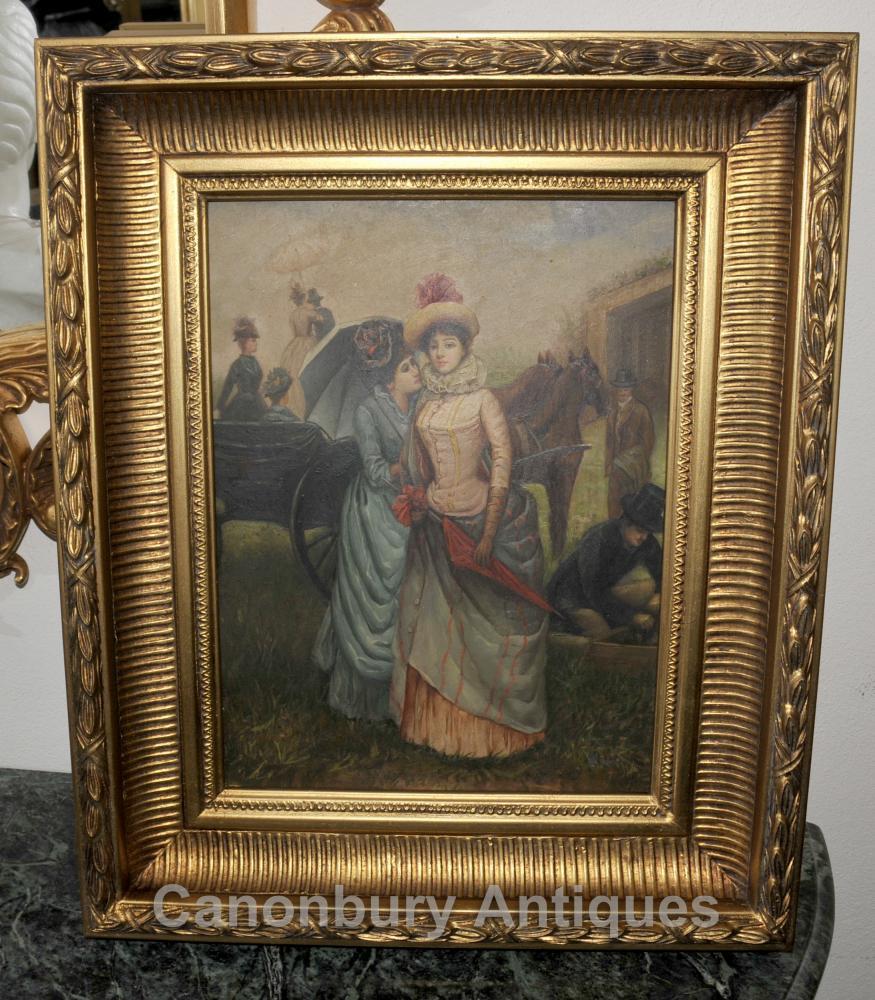 Mesdames peinture à l'huile victoriennes aux courses Portrait cadre doré
