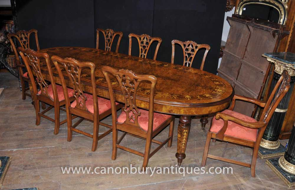 Noyer Table à manger victorienne Chippendale président Set Tables Chaises Suite