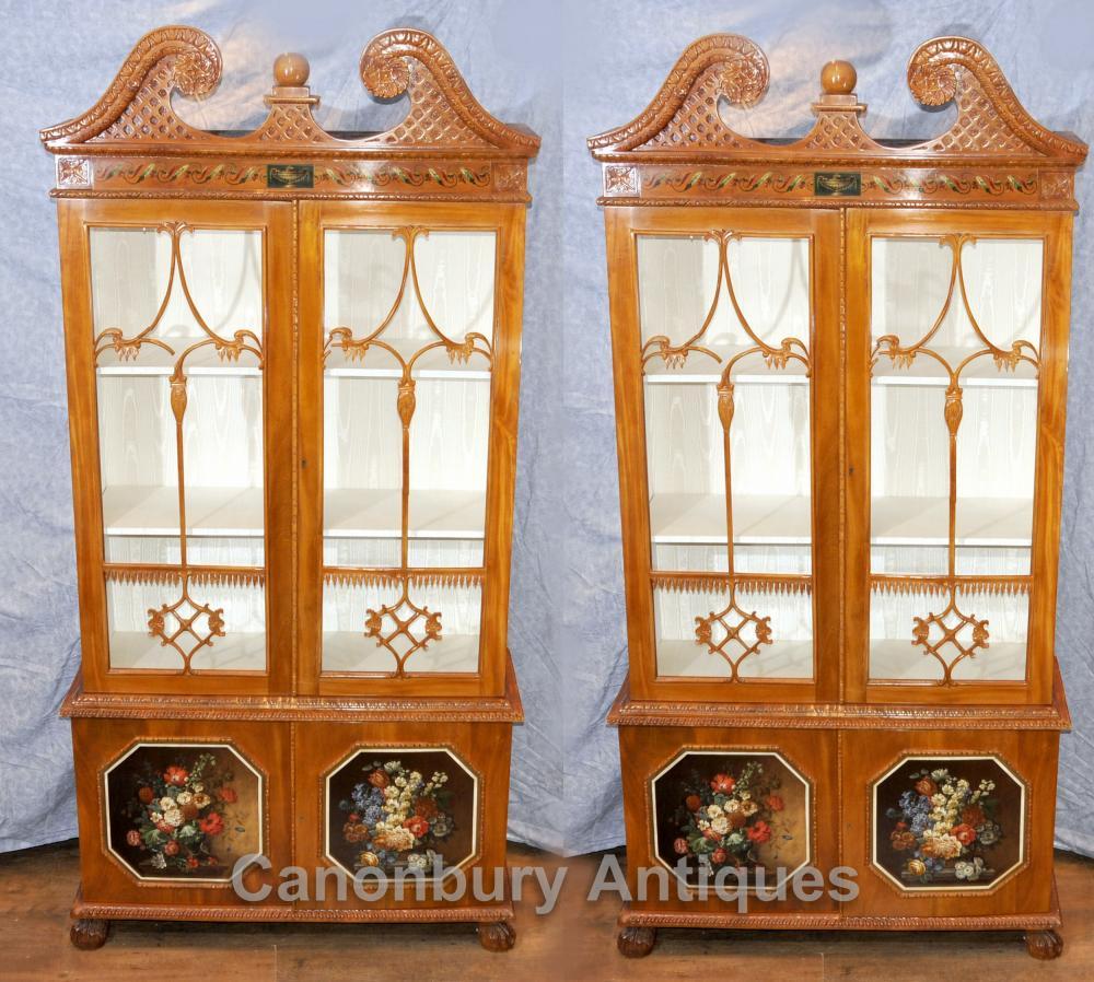 Pair Antique Chippendale vitré Vitrines Bibliothèques Satinwood
