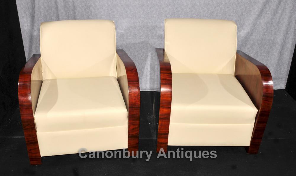 Paire Art Déco fauteuils club Rosewood 1920 Fauteuil