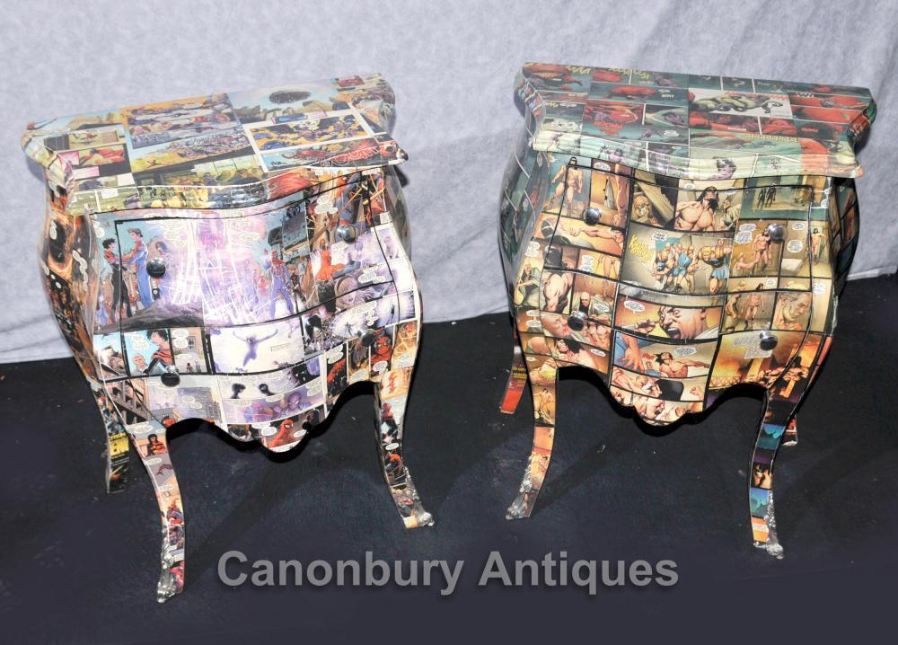 Paire Art déco Comic Imprimer coffres tiroirs de chevet table de chevet