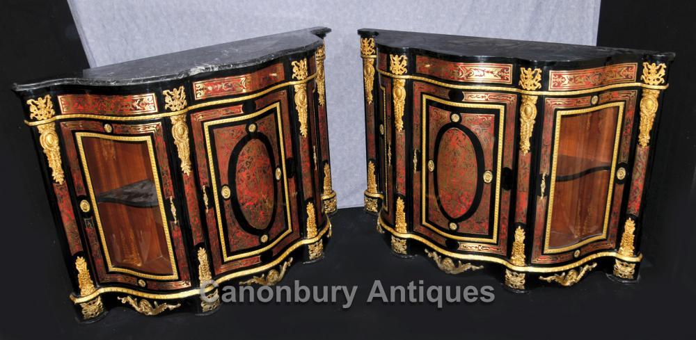 Paire Boulle Inlay Armoires Buffets français Louis XVI Bahut