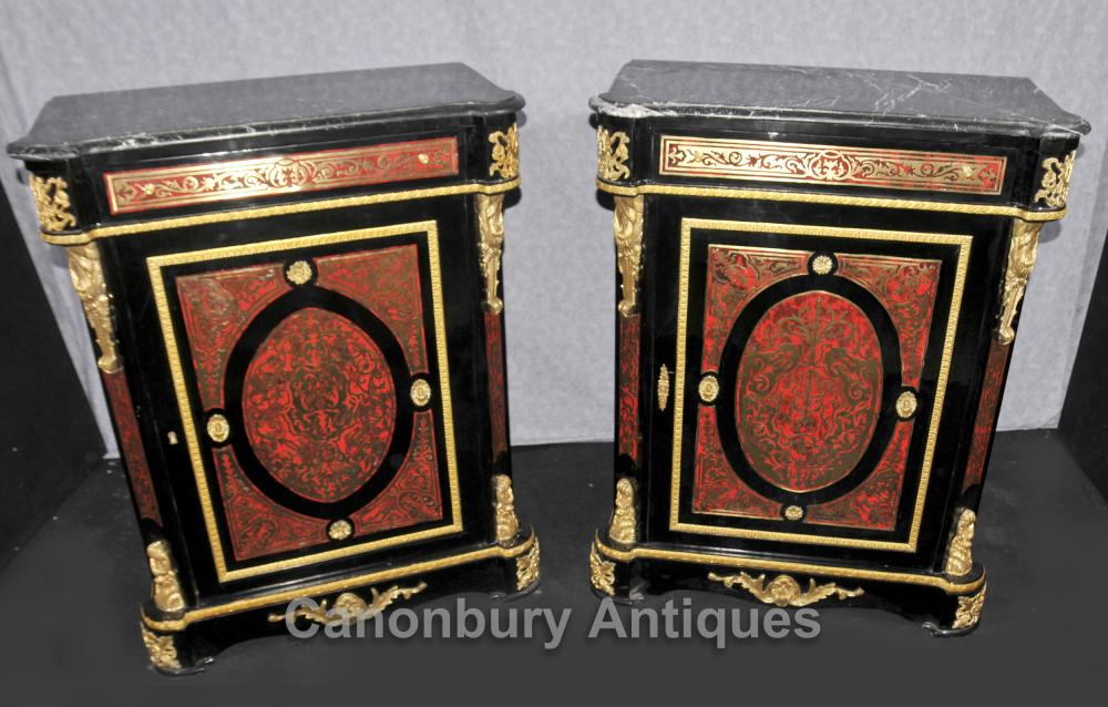 Paire Boulle Louis XIV Armoires Commodes Buhl Inlay Meubles