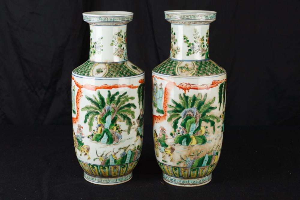 Paire chinoise Famille Verte peint à la main en porcelaine urnes Chine