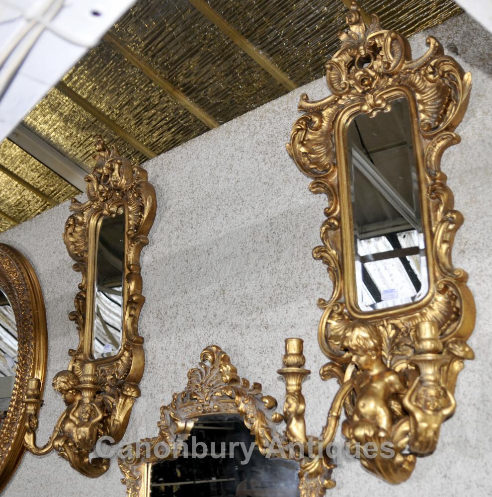 Paire française Chérubin Gilt Girandole Miroirs Bras de Louis XVI Candélabres