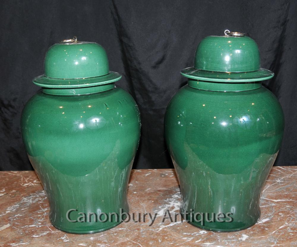 Paire porcelaine chinoise Ginger Jars Jars Temple Urnes Vases