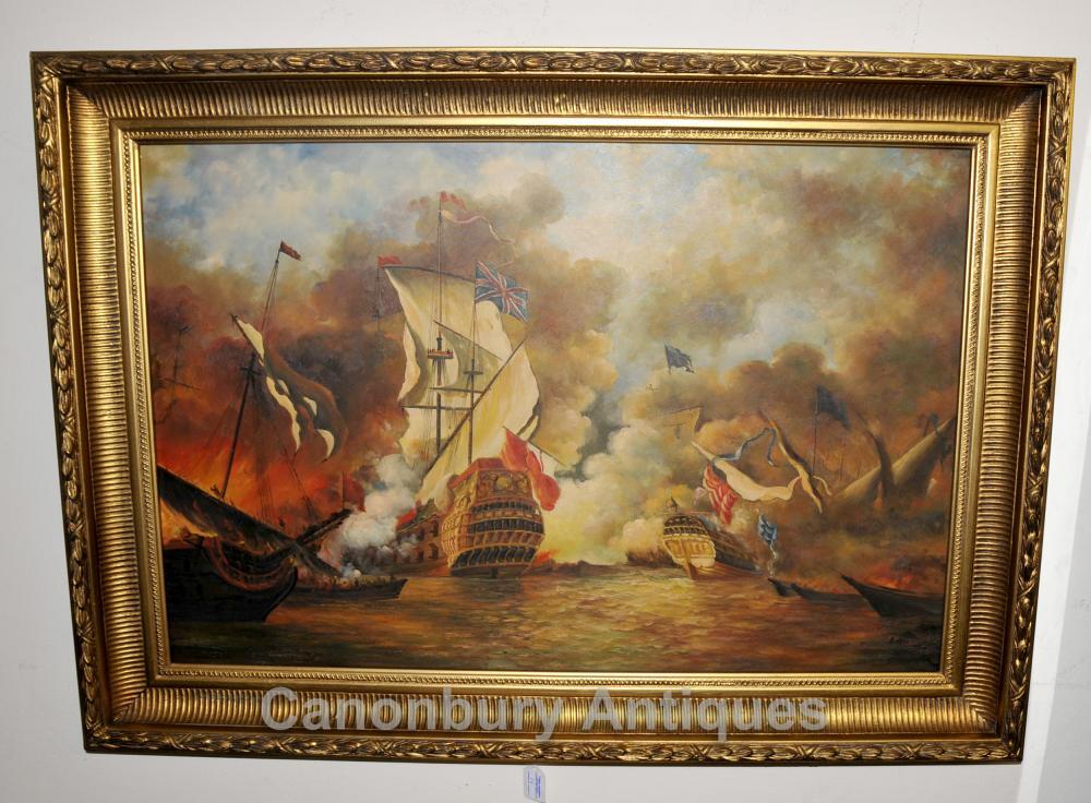 Peinture à l'huile English scène de bataille Armada espagnole Seascape Marine