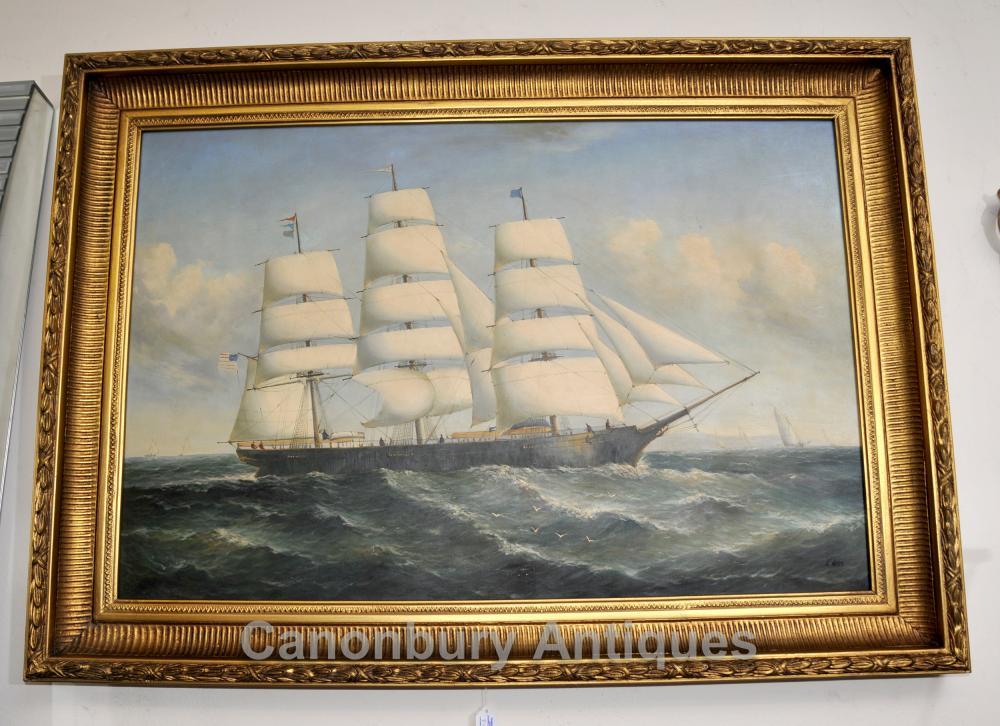Peinture à l'huile de Victoria Clipper Ship Seascape Art Maritime