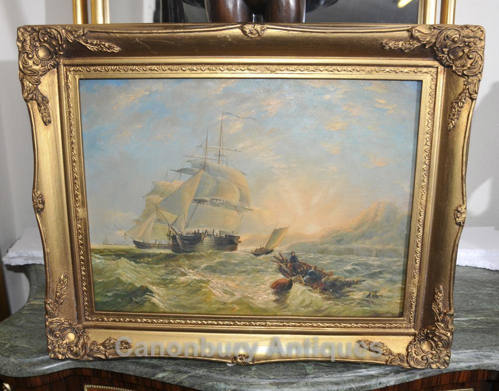 Peinture à l'huile victorienne Cornish Seascape Chargement navire Turneresque impressionniste
