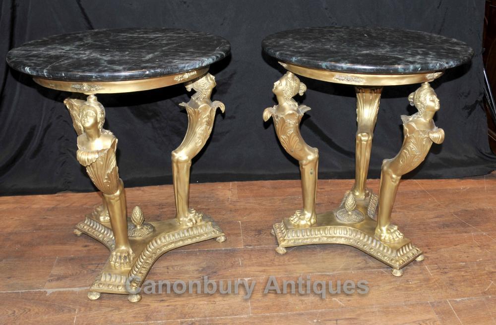 Tables paire française Empire Antique Maiden secondaires Ormolu
