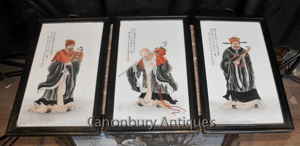 Trio chinoise des assiettes en porcelaine peinte à la main Sages Triptyque