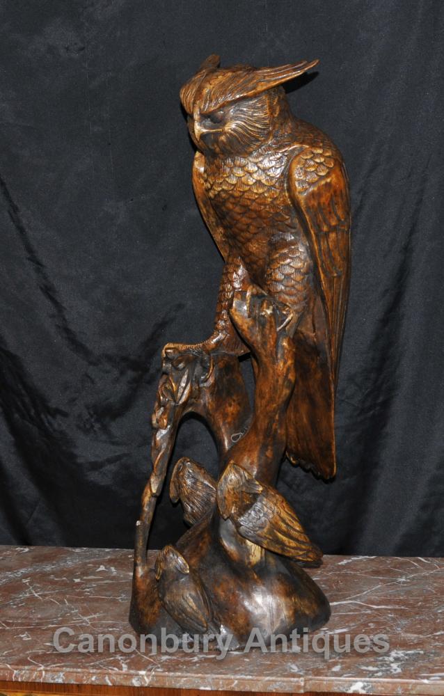 3 ft Sculpté à la main Chouette épervière Forêt Noire Statue Oiseaux Prey Aigle