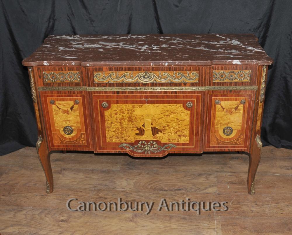 Antique Français Chest Tiroirs Commode Cherub Inlay Empire Antiquités