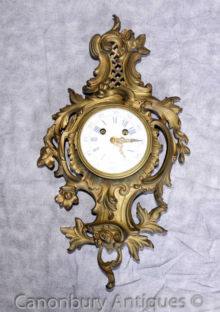 Antique Louis XVI Ormolu Rococo Horloge murale Horloges Français