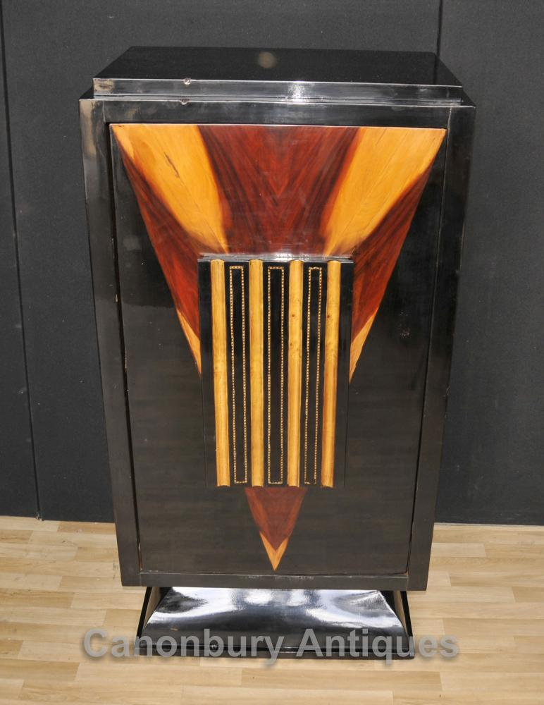 Art Deco Laque Cocktail Drinks Cabinet Chest