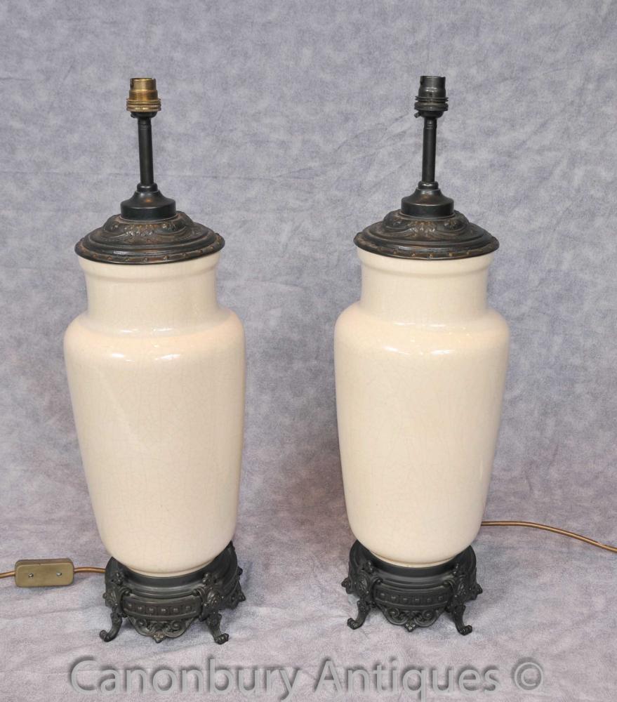 Bases Paire Empire français Porcelain Table Lampes Lumière