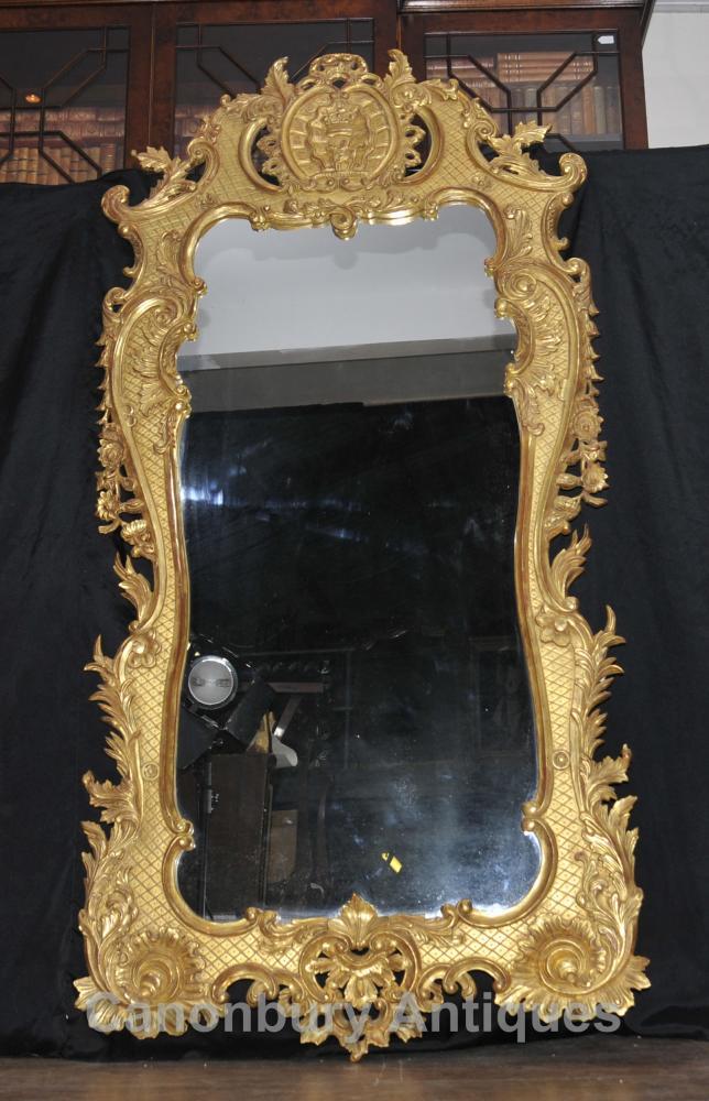 Big français Louis XVI Gilt Pier Miroir en verre Miroirs