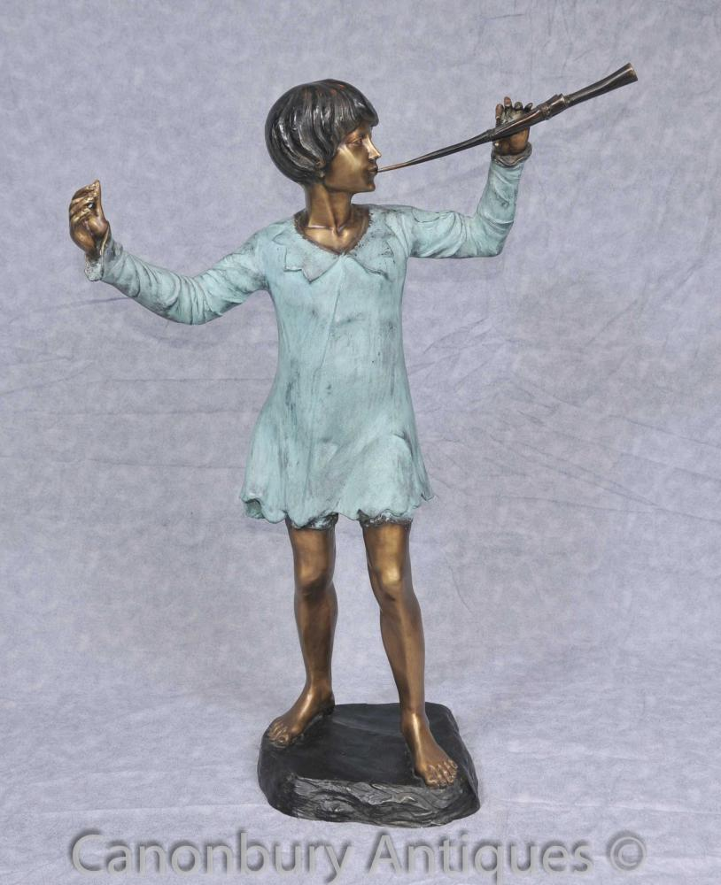 Bronze Statue Peter Pan Figurine JM Barrie Holland Park