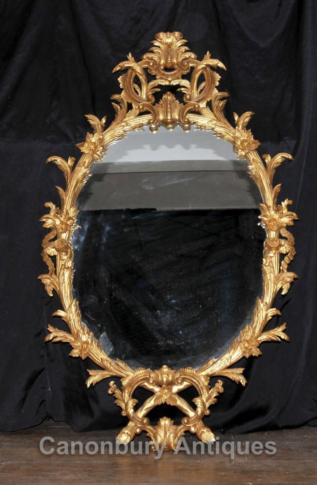 Chippendale Gilt Miroir ovale en verre Miroirs Rococo