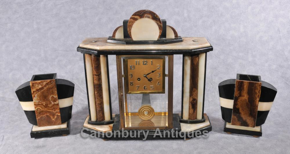 Français Antique Art Deco Clock Set Garniture Horloges 1920 Marble Mantle