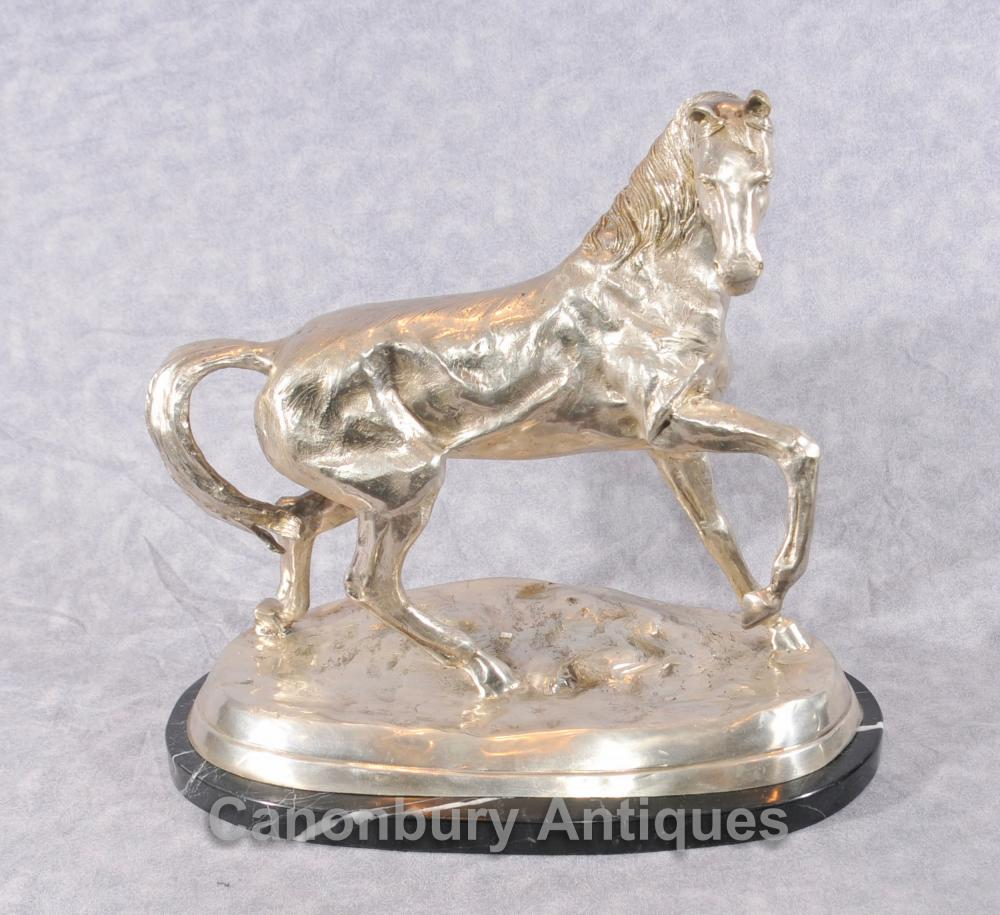 Français Bronze Argent Plaqué Cheval Statue par Mene
