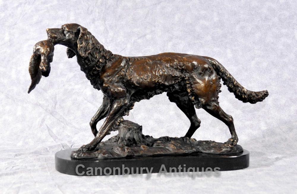 Français Bronze Moigniez Hunter Dog Statue Bloodhound Pheasant chiens de chasse