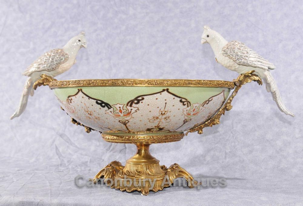 Français Bronze Parrot Ormolu Bowl Comport Soupière Dish Bath d'oiseau