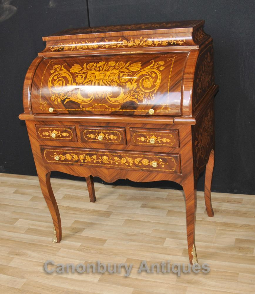 Français Louis XV Roll Top Bureau de bureau Table Inlay Furniture