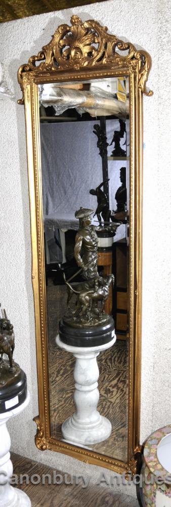 Français Louis XVI Grand Miroir sur pied Gilt Cadre