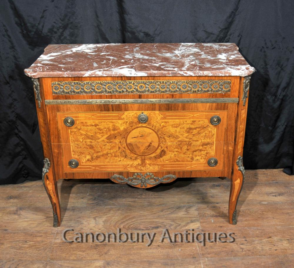 Français Napoléon II Antique Chest Tiroirs Commode Marqueterie Inlay