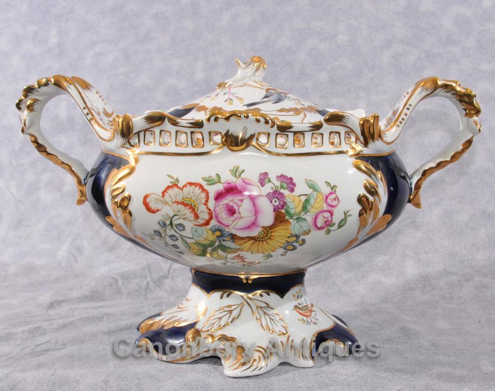 Français Sevres Porcelaine Soupière Dish Vaporisateur Compote Floral