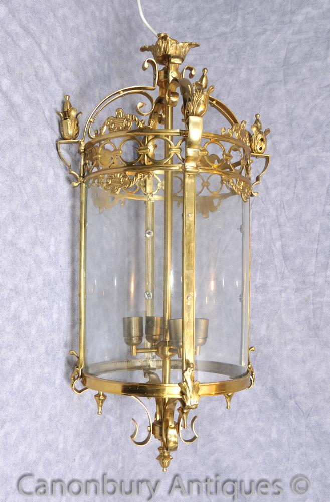 Français Empire Brass Lantern Light Chandelier plafond Éclairage