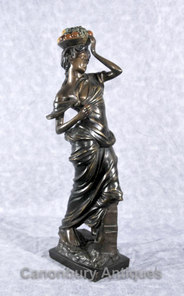 Italienne Bronze Fruit Vendeur Figurine Statue Maiden classique