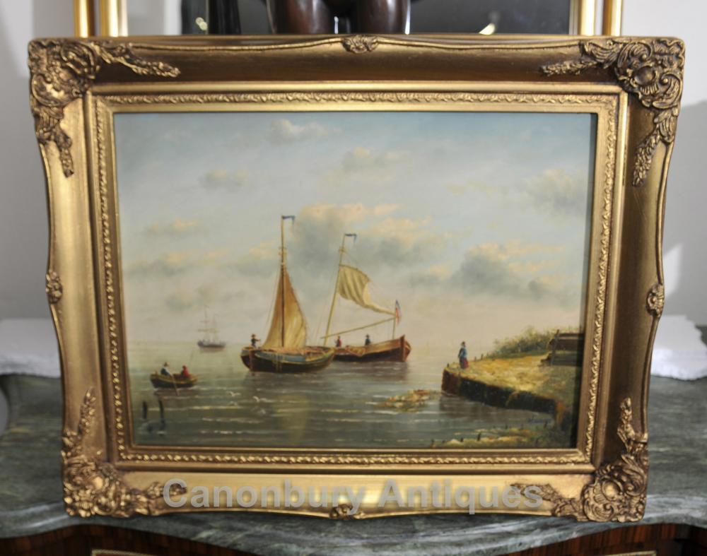 Néerlandais Peinture à l'huile Pêche Seascape Voiliers Maritime Art