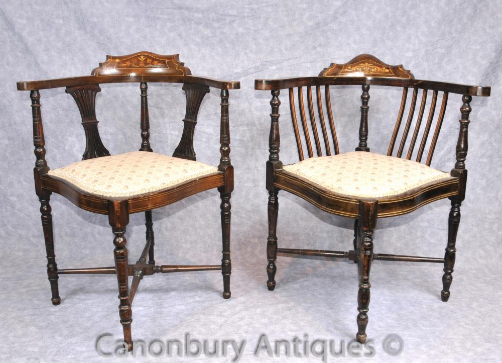 Pair Antique Victorian Corner Chaises Fauteuils English