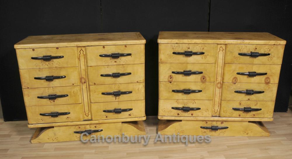 Paire Biedermeier Commodes Tiroirs Birdseye Maple Deco Commode