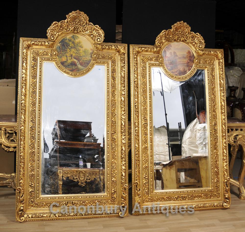 Paire Big Français Gilt Pier Miroirs Painted Plaques Rococo