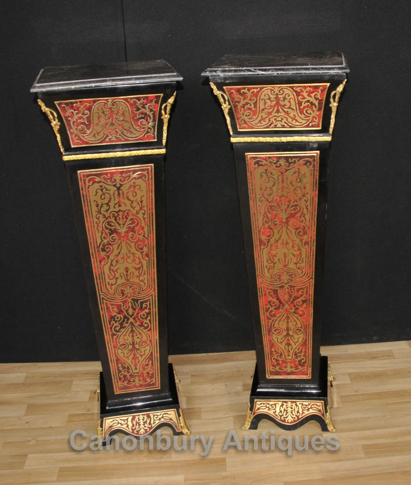 Paire Boulle Pedestal Stands Colonnes Supports Louis XV Buhl Inlay