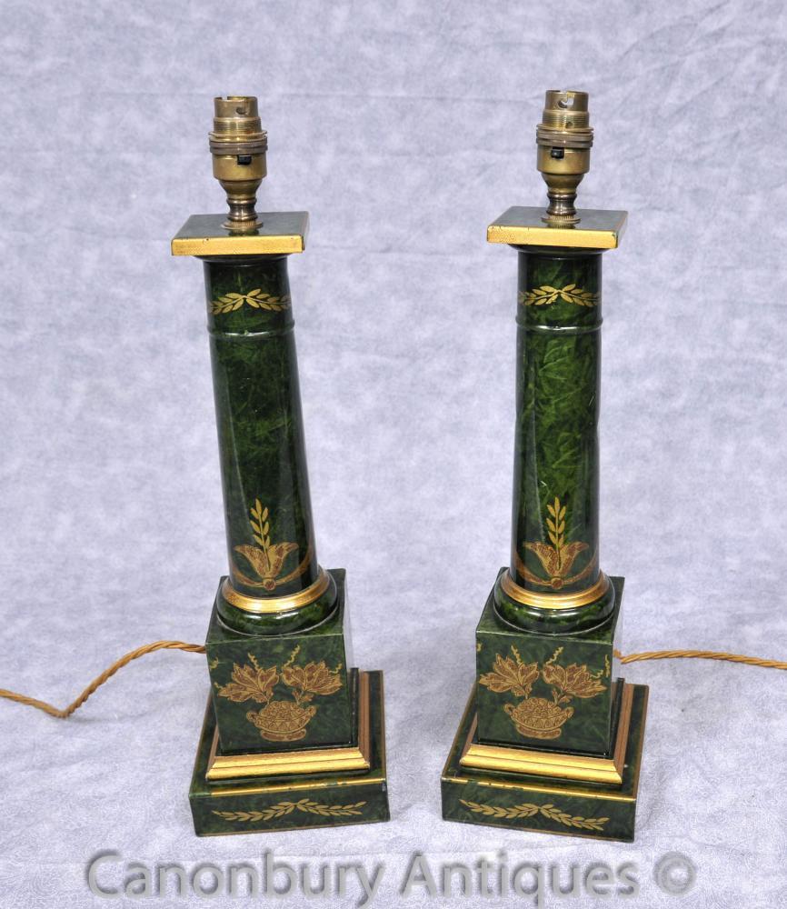 Paire Empire français Porcelain Table Lamps dorique Colonne Temple Lumière