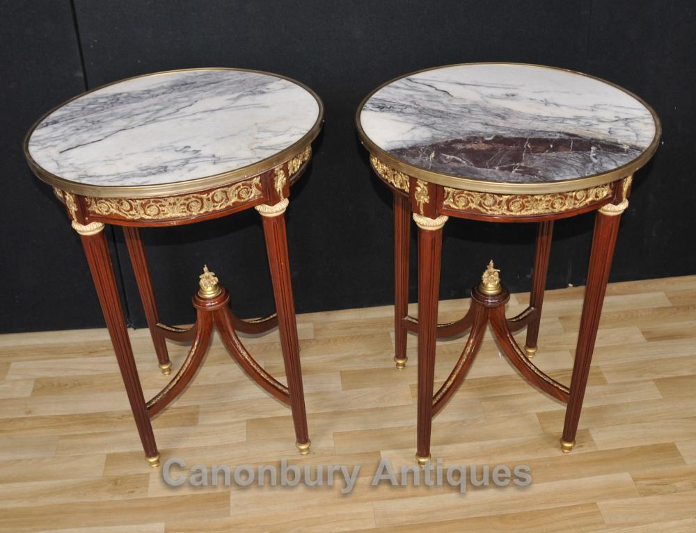 Paire Empire français Tables Side Round Cocktail Furniture
