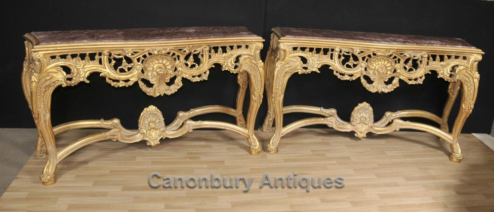 Paire George Console Gilt II Tables de marbre Hauts main Carved Rococo
