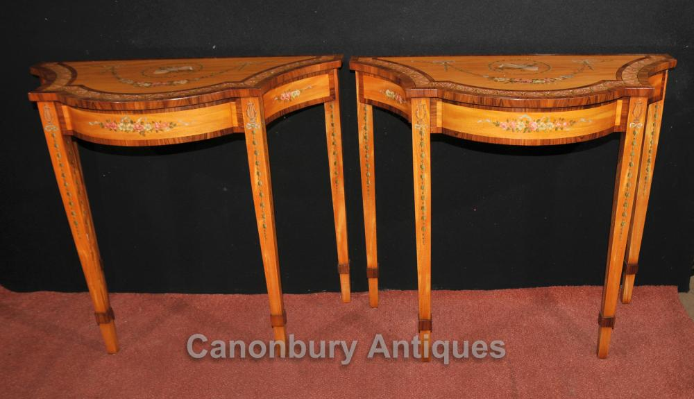 Paire Regency Painted Tables console Satinwood Rosewood Intérieurs