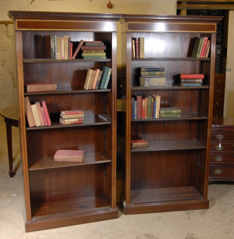 Paire Regency ouverts avant Bibliothèques Acajou Bibliothèque étagère
