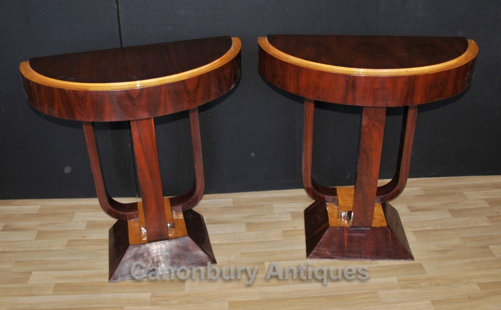 Paire Rosewood Art Déco Console Tables hall Table moderniste